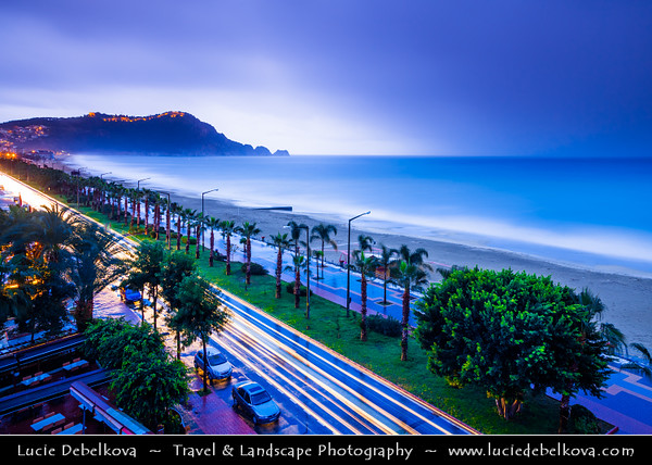 Middle East - Turkey - Türkiye - Mediterranean coast of southwestern Turkey - Antalya Province - Alanya - Alaiye - Beach resort city located on the Turkish Riviera below the Taurus Mountains - Cleopatra - Kleopatra - Damlatas Beach - Long fine sandy shore with many coves & inlets