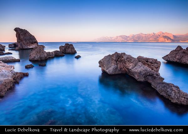 Middle East - Turkey - Türkiye - Mediterranean coast of southwestern Turkey - Antalya - International sea resort located on the Turkish Riviera - Kaleiçi - Old Town of Antalya - Rocky Shore