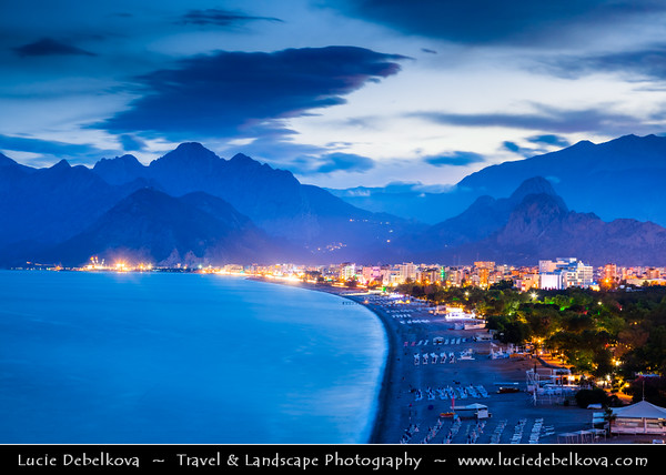 Middle East - Turkey - Türkiye - Mediterranean coast of southwestern Turkey - Antalya - International sea resort located on the Turkish Riviera - Konyaaltı Beach - One of the two main beaches of Antalya located on the western side of the city stretching for 7 km from the cliffs to the Beydağları mountains