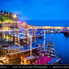 Middle East - Turkey - Türkiye - Mediterranean coast of southwestern Turkey - Antalya - International sea resort located on the Turkish Riviera - Kaleiçi - Old Town of Antalya - Picturesque old historical quarter at the center of the sprawling modern city - Promenade around the harbour full of boats at Dusk - Twilight - Blue Hour - Night