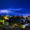 Middle East - Turkey - Türkiye - Mediterranean coast of southwestern Turkey - Antalya - International sea resort located on the Turkish Riviera - Kaleiçi - Old Town of Antalya - Picturesque old historical quarter at the center of the sprawling modern city - Dramatic storm with lightning during early night