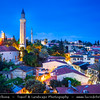 Middle East - Turkey - Türkiye - Mediterranean coast of southwestern Turkey - Antalya - International sea resort located on the Turkish Riviera - Kaleiçi - Old Town of Antalya - Picturesque old historical quarter at the center of the sprawling modern city - Dusk - Twilight - Blue Hour - Night