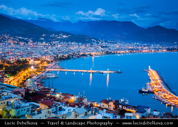 Middle East - Turkey - Türkiye - Mediterranean coast of southwestern Turkey - Antalya Province - Alanya - Alaiye - Beach resort city located on the Turkish Riviera below the Taurus Mountains - Historical town center & harbor with boats