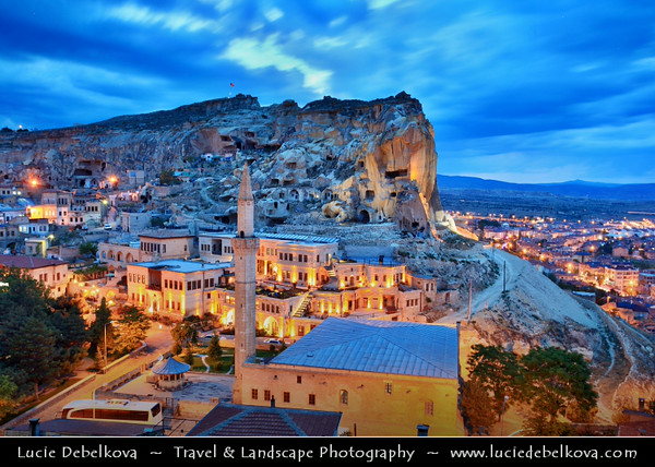Turkey - Türkiye - Central Anatolia - Nevşehir Province - Cappadocia - Capadocia - Kapadokya - Kappadokía - UNESCO World Heritage Site - Göreme National Park - Spectacular volcanic surrealistic landscape entirely sculpted by erosion with Fairy Chimneys rock formation - Ürgüp - Well-heeled town built on a hill with beautiful views of Cappadocia & one of popoular tourist centers