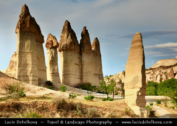 Turkey - Türkiye - Central Anatolia - Nevşehir Province - Cappadocia - Capadocia - Kapadokya - Kappadokía - UNESCO World Heritage Site - Göreme National Park - Spectacular volcanic surrealistic landscape entirely sculpted by erosion with Fairy Chimneys rock formation - Baglidere Valley - Love Valley - One of the most picturesque fairy chimneys