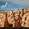 Turkey - Türkiye - Central Anatolia - Nevşehir Province - Cappadocia - Capadocia - Kapadokya - Kappadokía - UNESCO World Heritage Site - Göreme National Park - Spectacular volcanic surrealistic landscape entirely sculpted by erosion with Fairy Chimneys rock formation - Devrent Valley - Dervent Valley - Imaginary Valley - Pink Valley - Small fairy chimneys form a lunar landscape - moonscape by their strange look with rock formations that look like animals
