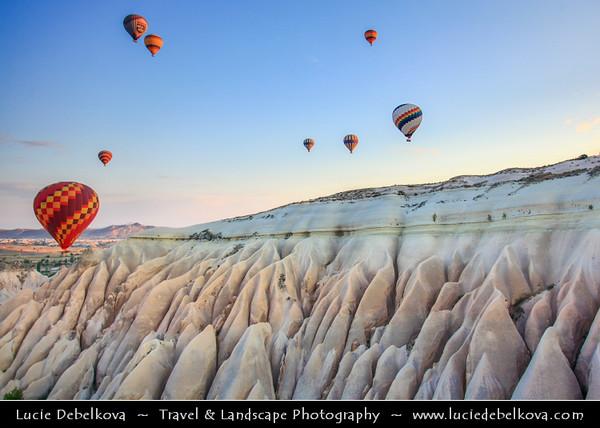 Turkey - Türkiye - Central Anatolia - Nevşehir Province - Cappadocia - Capadocia - Kapadokya - Kappadokía - UNESCO World Heritage Site - Göreme National Park - Spectacular volcanic surrealistic landscape entirely sculpted by erosion with Fairy Chimneys rock formation - One of the best places to fly with hot air balloon