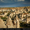 Turkey - Türkiye - Central Anatolia - Nevşehir Province - Cappadocia - Capadocia - Kapadokya - Kappadokía - UNESCO World Heritage Site - Göreme National Park - Spectacular volcanic surrealistic landscape entirely sculpted by erosion with Fairy Chimneys rock formation - Göreme Town from above with its surrounding lunar landscape