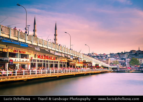 Turkey - Türkiye - Istanbul - Ancient Byzantium & Constantinople - Eminönü district - Galata Bridge - Galata Köprüsü - Iconic bridge spanning the Golden Horn from Karaköy on the north to Old Istanbul, centered on Sultanahmet on the south