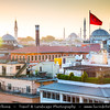 Turkey - Türkiye - Istanbul - Ancient Byzantium & Constantinople - Sultanahmet - Historical Old Town - City skyline over numerous mosques - Camii