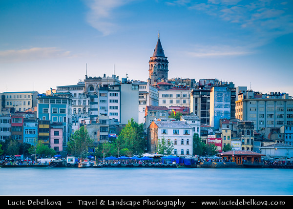 Turkey - Türkiye - Istanbul - Ancient Byzantium & Constantinople - Gatata Tower from Galata Bridge - Galata Köprüsü - Iconic bridge spanning the Golden Horn
