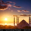 Turkey - Türkiye - Istanbul - Ancient Byzantium & Constantinople - Sultanahmet - Historical Old Town - UNESCO World Heritage site - Historic Areas of Istanbul - Sultan Ahmed Mosque - Sultanahmet Camii - Blue Mosque - One of the most famous monuments of Turkish and Islamic art - Historical Mosque with 6 minarets along with 8 domes & 1 main one - One of the best-known sights of Istanbul - Sunrise