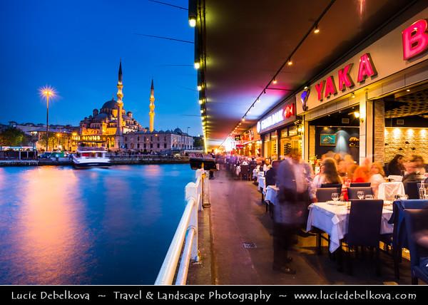 Turkey - Türkiye - Istanbul - Ancient Byzantium & Constantinople - Eminönü district - Galata Bridge - Galata Köprüsü - Iconic bridge spanning the Golden Horn from Karaköy on the north to Old Istanbul, centered on Sultanahmet on the south