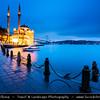 Turkey - Türkiye - Istanbul - Ancient Byzantium & Constantinople - Beşiktaş - Ortaköy Mosque - Ortaköy Camii - Büyük Mecidiye Camii - Grand Imperial Mosque of Sultan Abdülmecid - Iconic mosque situated at waterside of Ortaköy pier square, one of the most popular locations on Bosphorus