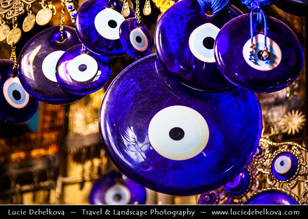 Turkey - Türkiye - Istanbul - Ancient Byzantium & Constantinople - Grand Bazaar - Kapalıçarşı - One of the largest & oldest covered markets in the world, with 61 covered streets & over 3,000 shops - Blue glass turkish eyes