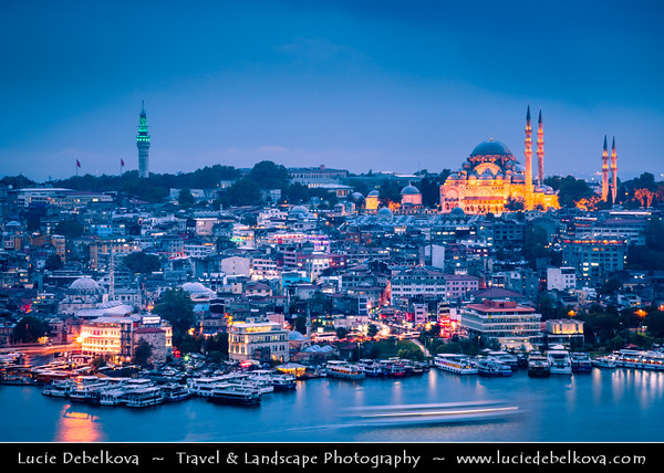 Turkey - Türkiye - Istanbul - Ancient Byzantium & Constantinople - City view from Galata Tower looking towards Sultanahmet - Historical Old Town