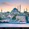 Turkey - Türkiye - Istanbul - Ancient Byzantium & Constantinople - Eminönü district - Eminonu waterfront with the Rustem Pasha Mosque - Ottoman mosque located in Hasırcılar Çarşısı in the Tahtakale neighborhood, of the Fatih district captured from Galata Bridge - Galata Köprüsü - Iconic bridge spanning the Golden Horn