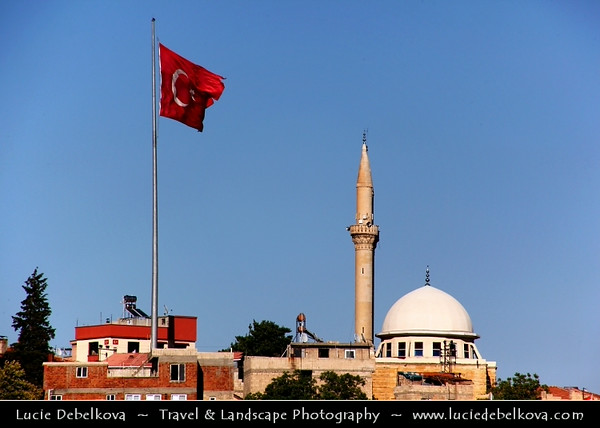 Turkey - Türkiye - Gaziantep - Antep - One of the oldest continually inhabited cities in the world - City Skyline with Mosque and Turkish Flag