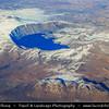Middle East - Turkey - Türkiye - Bitlis Province - Nemrut Caldera Natural Monument - Nemrut Kalderası - Nemrut Dağı - Dormant volcano in Eastern Turkey & Lake Nemrut - Nemrut Gölü - Freshwater crater lake  - Aerial View