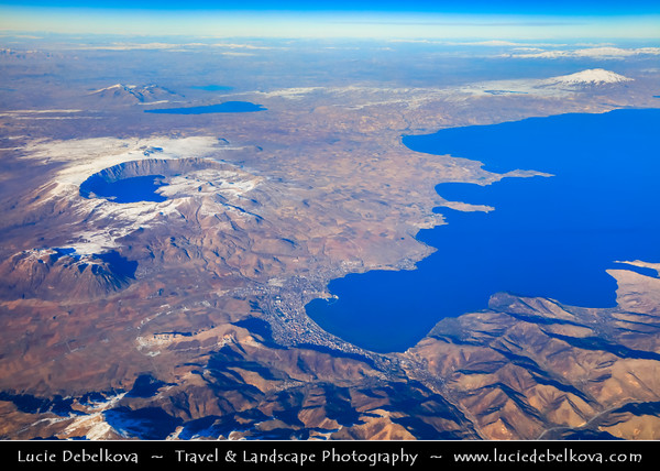 Middle East - Turkey - Türkiye - Bitlis Province - Lake Van - Van Gölü - Largest Turkish Lake of Volcanic origin located in the very Eastern part of the country - One of world's largest endorheic lakes (having no outlet) - Aerial View