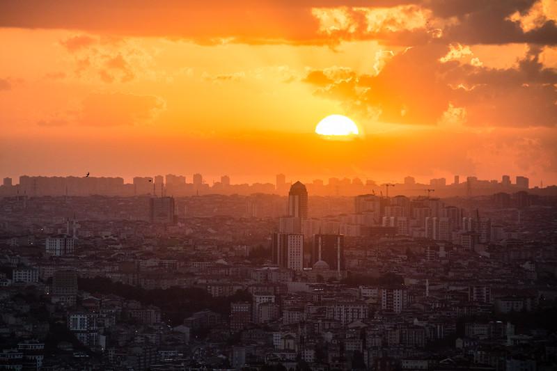 Sunset over IStanbul as seen from the Sisli neighborhood.