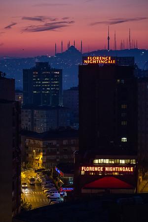Sunrise over Istanbul as seen from the neighborhood of Sisli.