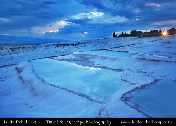 Middle East - Turkey - Türkiye - Denizli Province - Pamukkale - UNESCO World Heritage Site - One of Turkey's top attractions - Precious in the world with its cotton-look terraces - Hot springs and travertines, terraces of carbonate minerals left by the flowing water