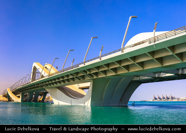 Middle East - GCC - United Arab Emirates - UAE - Emirate of Abu Dhabi - Abu Dhabi - Sheikh Zayed Bridge - Arch bridge named after country's principal architect and former president Sheikh Zayed bin Sultan Al Nahyan - 842 meter long bridge's curved design arches evoke undulating sand dunes of desert