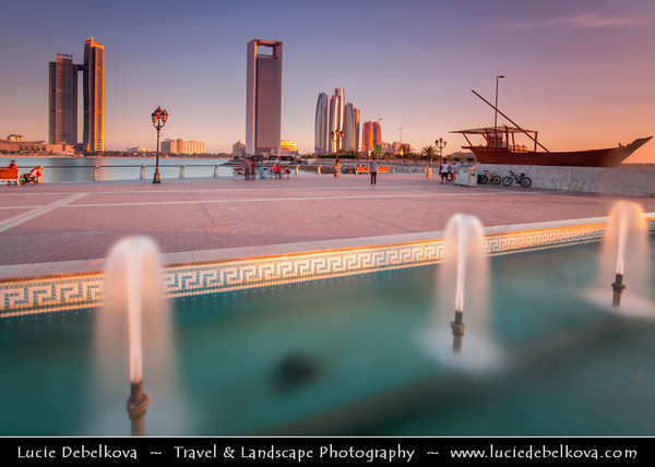 Middle East - GCC - United Arab Emirates - UAE - Abu Dhabi - Brand new modern skyline with sky high skyscrapers along the corniche
