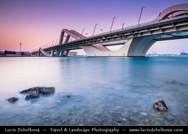 Middle East - GCC - United Arab Emirates - UAE - Emirate of Abu Dhabi - Abu Dhabi - Sheikh Zayed Bridge - Arch bridge named after country's principal architect and former president Sheikh Zayed bin Sultan Al Nahyan - 842 meter long bridge's curved design arches evoke undulating sand dunes of desert