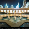 Middle East - GCC - United Arab Emirates - UAE - Abu Dhabi - Sheikh Zayed Grand Mosque - Iconic landmark & third largest mosque in the world - Stunning building inspired by Persian, Mughal and Moorish islamic architecture