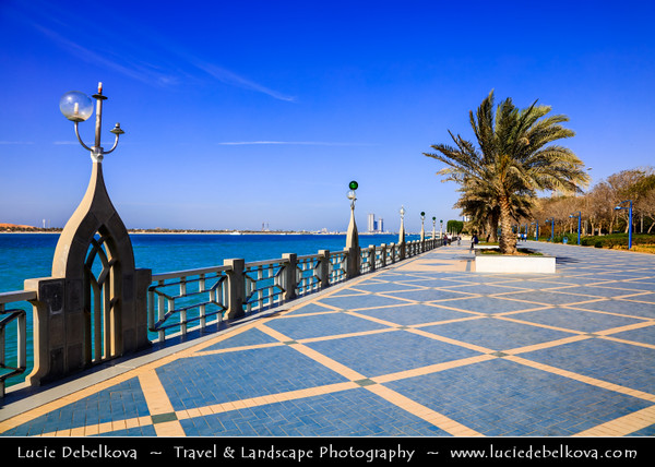 Middle East - GCC - United Arab Emirates - UAE - Emirate of Abu Dhabi - Abu Dhabi - Corniche Road along the sea shore