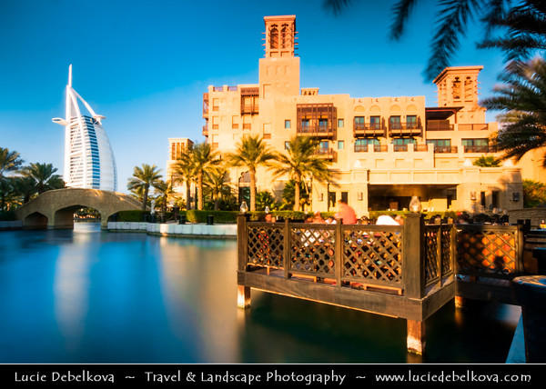 "Middle East - GCC - United Arab Emirates - UAE - Dubai - Madinat Jumeirah Arabian Resort next to Burj Al Arab - برج العرب‎ - Tower of the Arabs - Luxury hotel called ""The world's only 7 star Hotel"" located on an artificial island 280 m (920 ft) from Jumeirah beach"