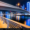 Middle East - GCC - United Arab Emirates - UAE - Dubai - Dubai Marina - Artificial canal city with sky high modern buildings along the sea shore - Dusk - Twilight - Blue Hour - Night