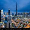 Middle East - GCC - United Arab Emirates - UAE - Dubai - City modern skyline with Burj Khalifa - برج خليفة - Khalifa Tower - Skyscraper & tallest man-made structure in world at 829.8 m (2,722 ft)