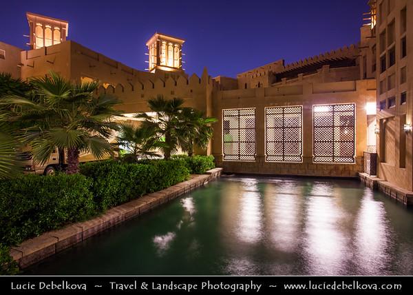 "Middle East - GCC - United Arab Emirates - UAE - Dubai - Madinat Jumeirah Arabian Resort next to Burj Al Arab - برج العرب - Tower of the Arabs - Luxury hotel called ""The world's only 7 star Hotel"" located on an artificial island 280 m (920 ft) from Jumeirah beach"