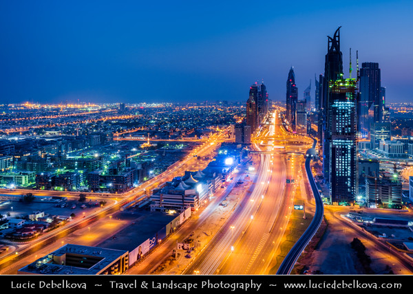 Middle East - GCC - United Arab Emirates - UAE - Dubai - Sheikh Zayed Road - Main artery of the city running parallel to the coastline with modern sky high buildings along