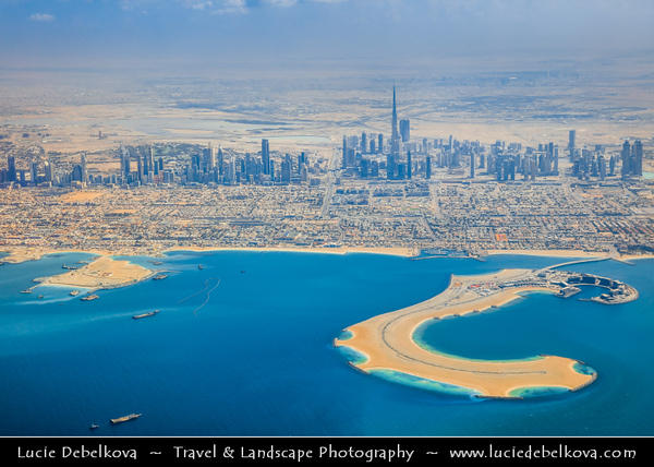 Middle East - GCC - United Arab Emirates - UAE - Dubai - City modern skyline with Burj Khalifa - برج خليفة‎ - Khalifa Tower - Skyscraper & tallest man-made structure in world at 829.8 m (2,722 ft) - Aerial View