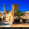 Middle East - GCC - United Arab Emirates - UAE - Dubai - Bastakiya quarter - Historical neighborhood established at the end of the 19th century by well-to-do textile and pearl traders from Bastak, Iran - Labyrinthine lanes are lined with restored merchant's houses and iconic Bastakiya mosque