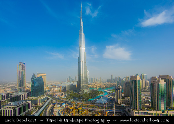Middle East - GCC - United Arab Emirates - UAE - Dubai - Burj Khalifa - برج خليفة‎ - Khalifa Tower - Skyscraper & tallest man-made structure in world at 829.8 m (2,722 ft)