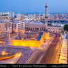 Middle East - GCC - United Arab Emirates - UAE - Dubai - Old Al Fahidi Fort - Dubai Museum - Oldest remaining buildign in Bur Dubai - Old Town - Historic city center located at the Dubai Creek with Traditional Grand Mosque at Dusk - Twilight - Blue Hour - Night