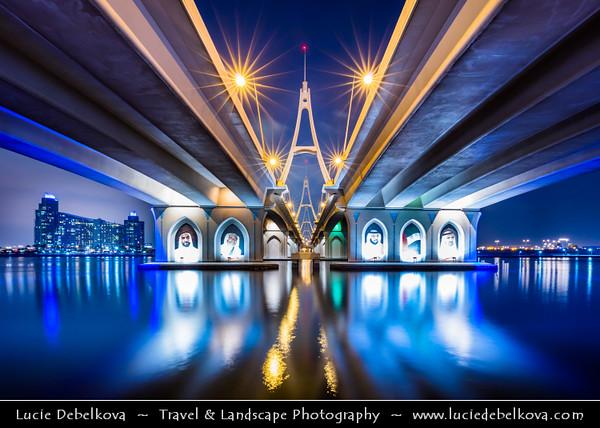 Middle East - GCC - United Arab Emirates - UAE - Dubai - Ras Al Khor Bridge - Business Bay Crossing over Dubai Creek at Night