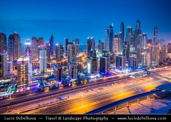 Middle East - GCC - United Arab Emirates - UAE - Dubai - Dubai Marina - Artificial canal city with sky high modern buildings along the sea shore along Sheikh Zayed Road - Main artery of the city
