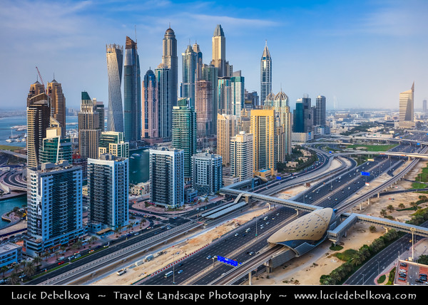 Middle East - GCC - United Arab Emirates - UAE - Dubai - Dubai Marina - Artificial canal city with sky high modern buildings along the sea shore along Sheikh Zayed Road - Main artery of the city