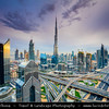 Middle East - GCC - United Arab Emirates - UAE - Dubai - City modern skyline with Burj Khalifa - برج خليفة‎ - Khalifa Tower - Skyscraper & tallest man-made structure in world at 829.8 m (2,722 ft)