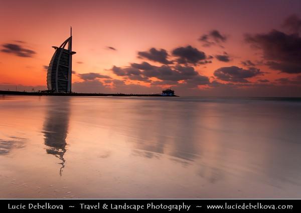 "Middle East - GCC - United Arab Emirates - UAE - Dubai - Burj Al Arab - برج العرب - Tower of the Arabs - Luxury hotel called ""The world's only 7 star Hotel"" located on an artificial island 280 m (920 ft) from Jumeirah beach"