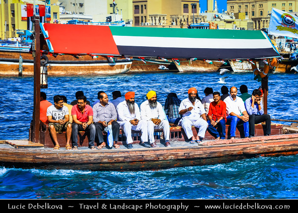 Middle East - GCC - United Arab Emirates - UAE - Dubai - Dubai Creek - Deira - Crossing Dubai Creek by boat - Popular mode of transport with small motorised water taxis