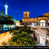 Middle East - GCC - United Arab Emirates - UAE - Dubai - Bastakiya quarter - Historical neighborhood established at the end of the 19th century by well-to-do textile and pearl traders from Bastak, Iran - Labyrinthine lanes are lined with restored merchant's houses and iconic Bastakiya mosque - Twilight - Blue Hour - Night - Dusk