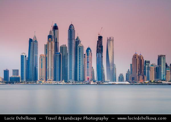 Middle East - GCC - United Arab Emirates - UAE - Dubai - Dubai Marina - Artificial canal city with sky high modern buildings along the sea shore