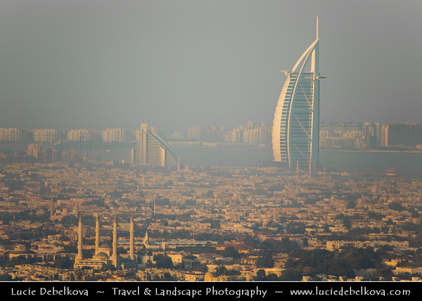 """Middle East - GCC - United Arab Emirates - UAE - Dubai - Area around Burj Al Arab - برج العرب - Tower of the Arabs - Luxury hotel called """"The world's only 7 star Hotel"""" located on an artificial island 280 m (920 ft) from Jumeirah beach & Jumeirah Mosque"""